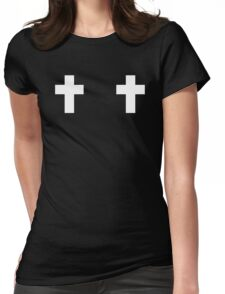 Two white bold crosses Womens Fitted T-Shirt