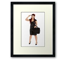 Beautiful woman with pen and laptop Framed Print