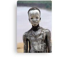 Africa, Ethiopia, Omo Valley, Young Karo tribesman warrior Canvas Print