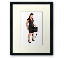 Young woman with pen and laptop Framed Print
