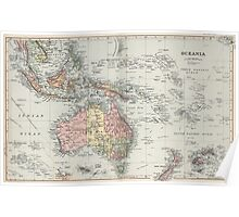 Vintage Map of Oceania (1892) Poster