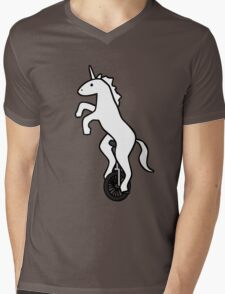 Unicorn on a Unicycle Mens V-Neck T-Shirt