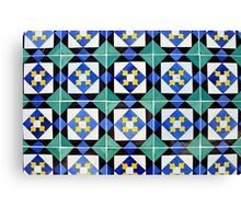 Blue and green patterned tiles, Lisbon Canvas Print