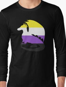 Nonbinary Pride Dragon Silhouette Long Sleeve T-Shirt
