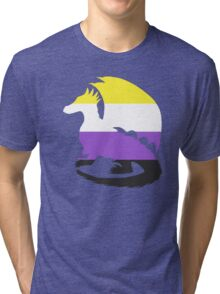 Nonbinary Pride Dragon Silhouette Tri-blend T-Shirt