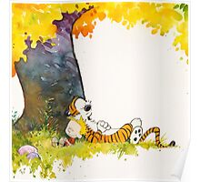 sleeping cute calvin hobbes Poster