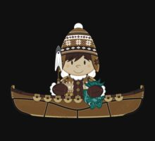 Cute Little Inuit Fisherman in Kayak Kids Clothes
