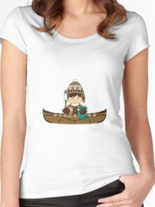 Cute Little Inuit Fisherman in Kayak Women's Fitted Scoop T-Shirt