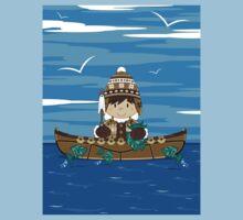 Cute Little Inuit Fisherman in Kayak Kids Tee