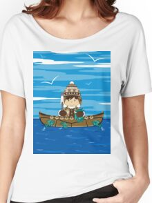 Cute Little Inuit Fisherman in Kayak Women's Relaxed Fit T-Shirt