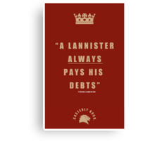 Lannister Quote Canvas Print
