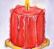 Red Christmas Candle by cottagerts