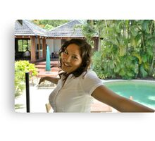 Attractive brunette businesswoman poolside Canvas Print