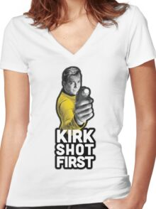 Kirk Shot First Women's Fitted V-Neck T-Shirt