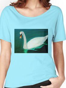 Swan on an aqua lake Women's Relaxed Fit T-Shirt