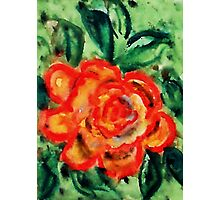 Lovely rose #2 yellow orange, watercolor Photographic Print