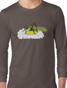 Cricket on daisy Zentangle Long Sleeve T-Shirt