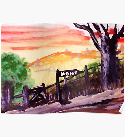 Rural roadhome,watercolor Poster