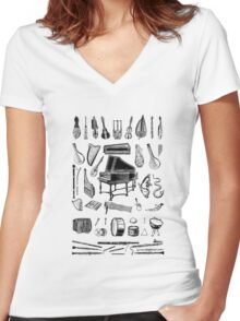 Vintage Classical Music Instruments Dictionary Art Women's Fitted V-Neck T-Shirt