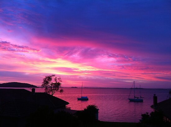 Pink n blue sunrise at Lake Macquarie by Hugh Cross