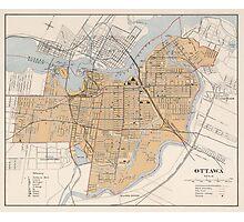 Vintage Map of Ottawa Canada (1915) Photographic Print