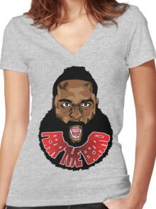 Fear the beard! Women's Fitted V-Neck T-Shirt
