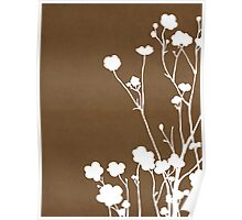 Buttercups in Brown & White Poster