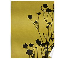Buttercups in Mustard & Gray Poster