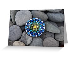 Mandala painted on stone Greeting Card