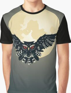 Owl and Full Moon Graphic T-Shirt