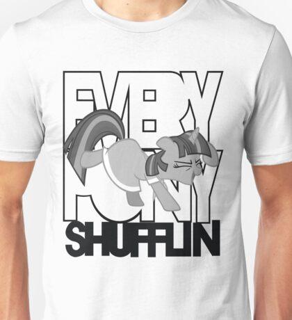 Everypony Shufflin in Greyscale!(For White Shirt) Unisex T-Shirt