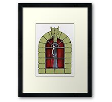Naughty Cat up the Curtains Framed Print