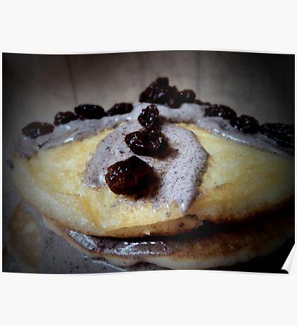 Choco-cream coated hotcake with raisin topping... Poster