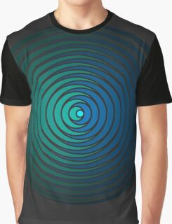 Spiky Circle Pattern - Blue and Green Graphic T-Shirt