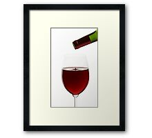 Red Wine On White Background With Droplet Framed Print