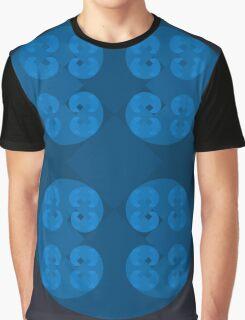 Golden Spiral Fractal Pattern - Blue Graphic T-Shirt