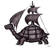 Sailing Turtle surreal black and white pen ink drawing Photographic Print