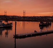 Boats at sunset. by Matt  Grindle