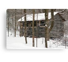 Old Cabin in the Snow, Dunrobin Ontario Canvas Print