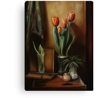 Classic Still Life with Tulips Canvas Print