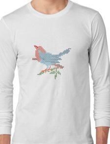 Dear Little Cross Stitch Bird Long Sleeve T-Shirt