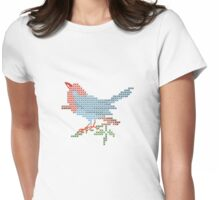 Dear Little Cross Stitch Bird Womens Fitted T-Shirt