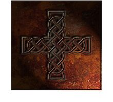 Celtic Knotwork Cross 02 - Rust Texture 01 Print by Brian Carson