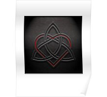Celtic Knotwork Valentine Heart 01 - Leather Texture 01 Print Poster