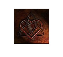 Celtic Knotwork Valentine Heart 01 - Rust Texture 01 Print Photographic Print