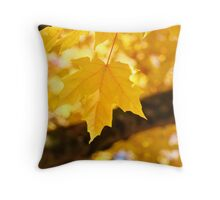 Yellow Autumn Leaf art prints Fall Leaves Throw Pillow