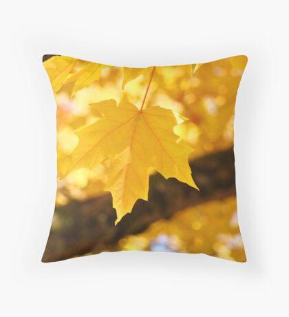 Yellow Autumn Leaf art prints Fall Leaves Throw Pillow
