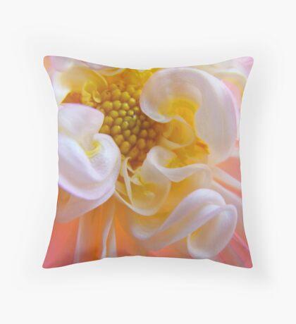 Dahlia Floral art prints Pink White Dahlias Throw Pillow