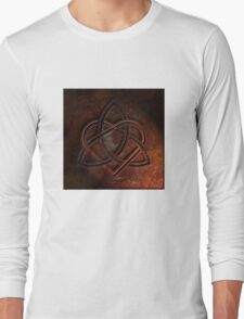 Celtic Knotwork Valentine Heart 01 - Rust Texture 01 TShirt Long Sleeve T-Shirt