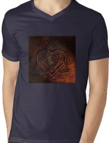 Celtic Knotwork Valentine Heart 01 - Rust Texture 01 TShirt Mens V-Neck T-Shirt